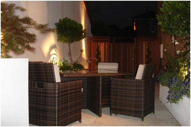 greenwich courtyard garden at night
