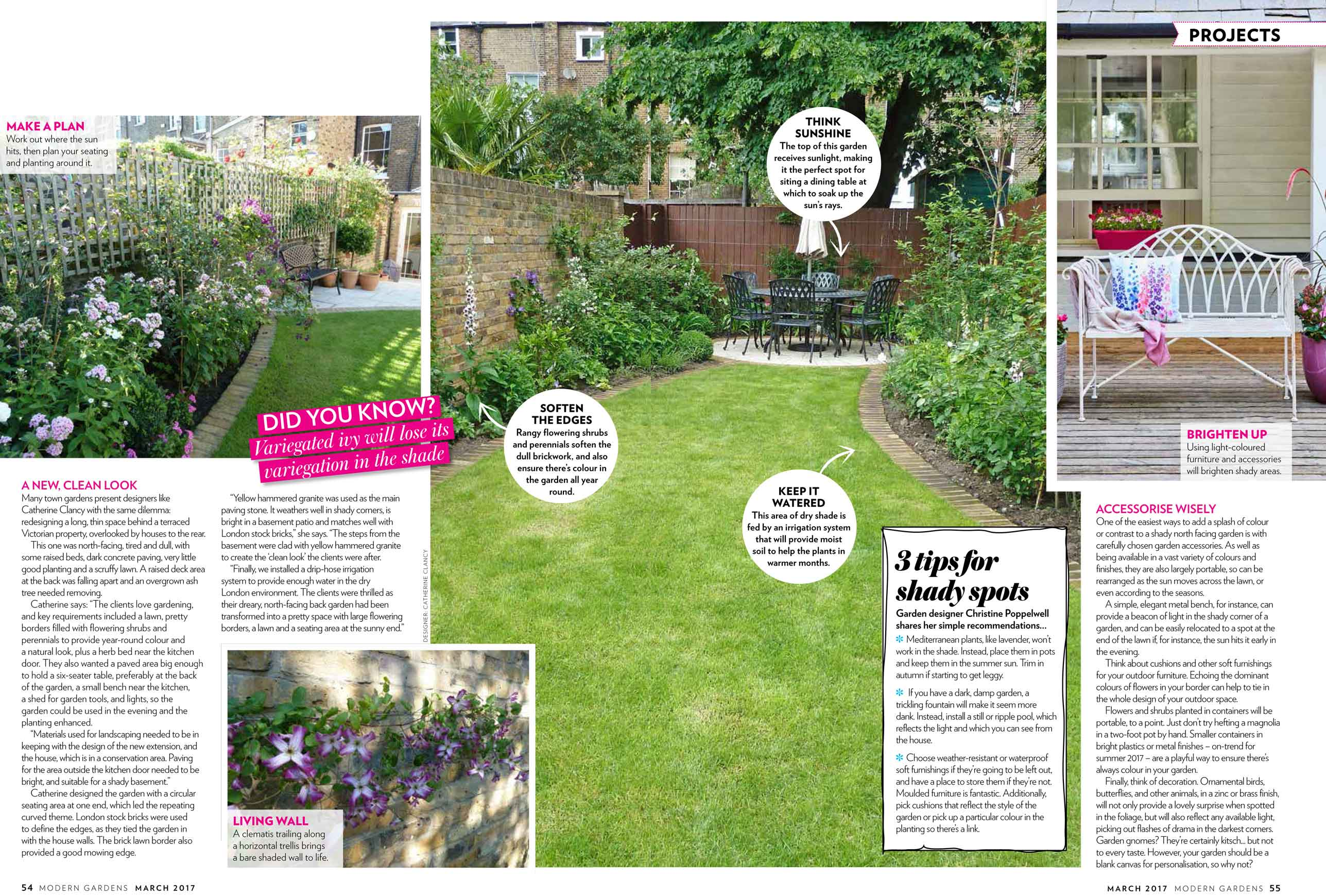 North facing gardens garden design london catherine clancy for North facing back garden designs