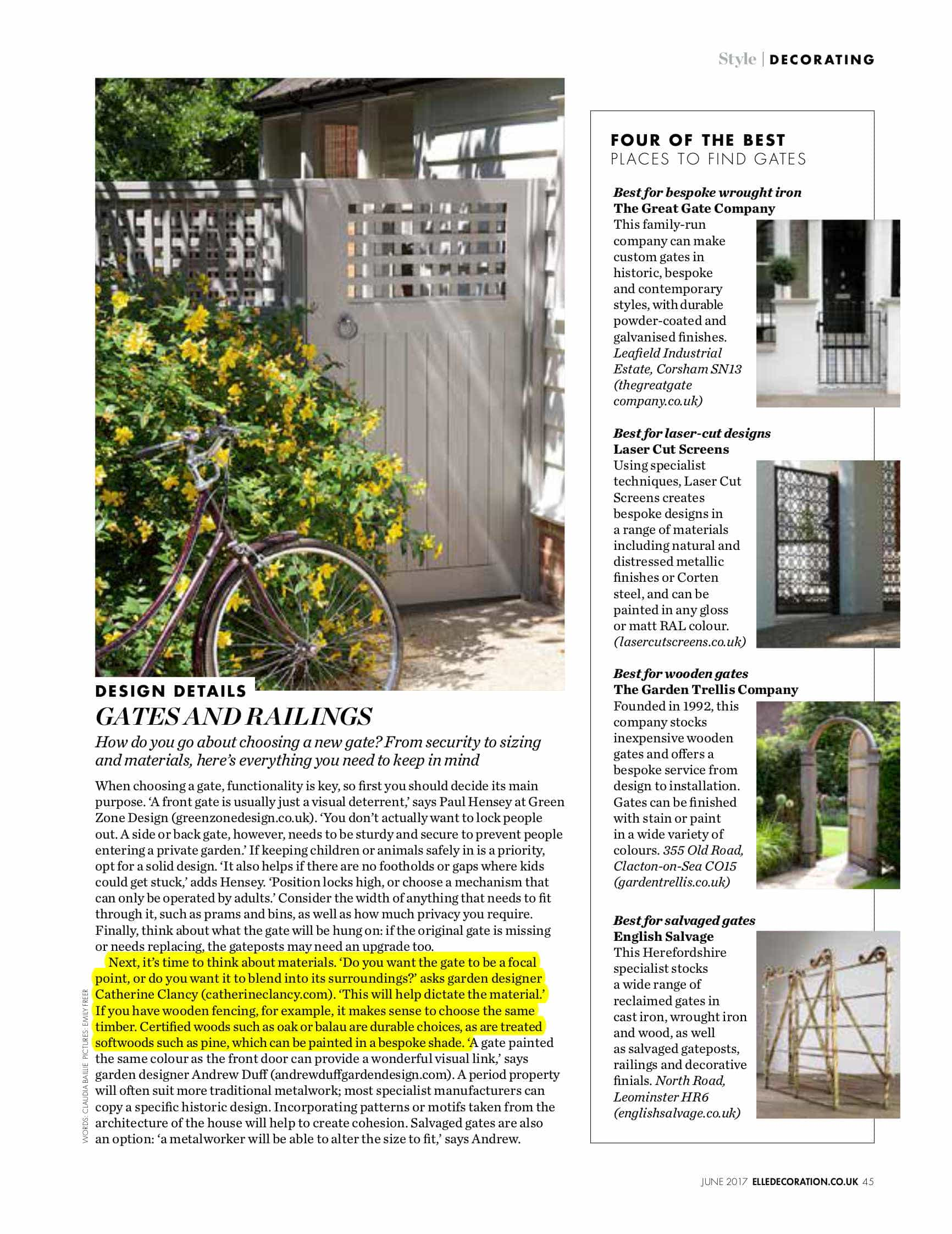 elle decor- garden gates - garden design london - catherine clancy